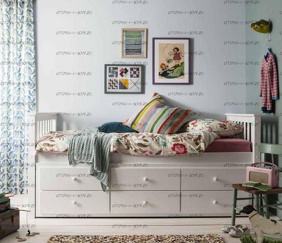 Кровать Соня-2 выкатная двухъярусная с ящиками (массив) №I