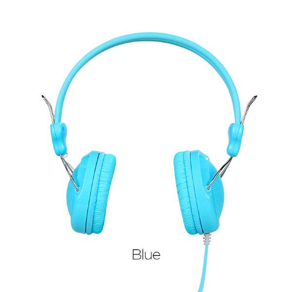 Наушники с микрофоном Hoco W5 Digital Stereo Manno Headphone (Голубой)