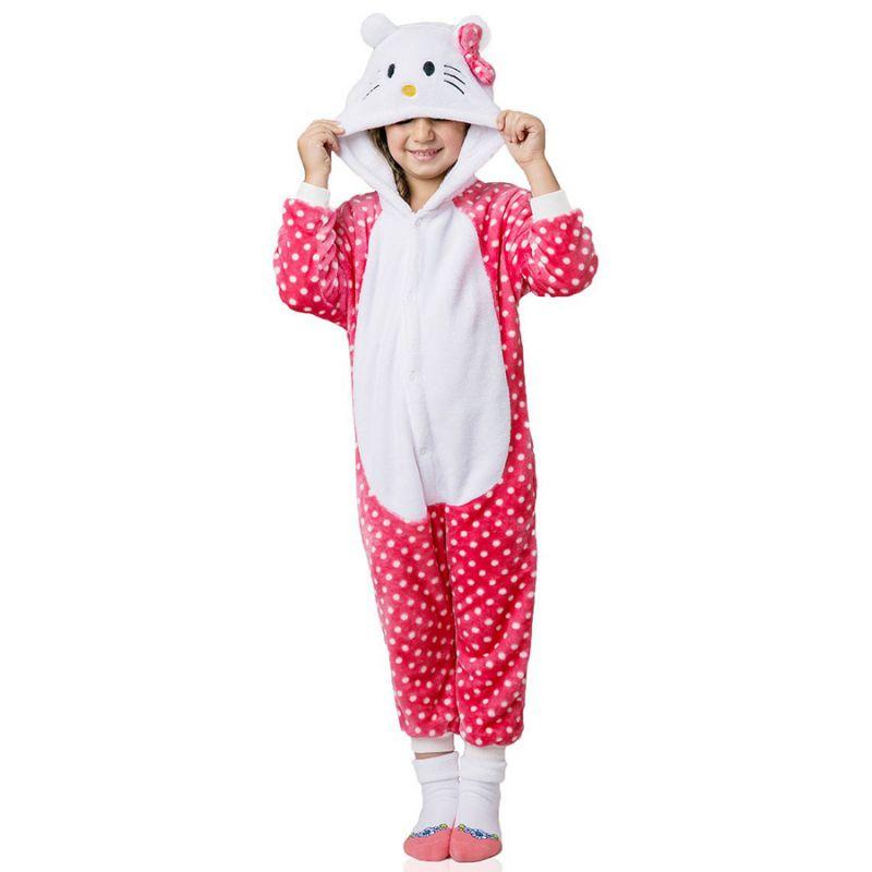 Детская Пижама Кигуруми Кошка Розовая Горох