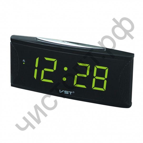 Часы  эл. сетев. VST719T-2 зел.цифры (говорящие) (5В)