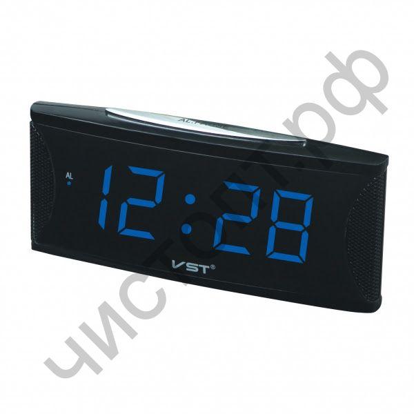 Часы  эл. сетев. VST719T-5 син.цифры (говорящие) (5В)