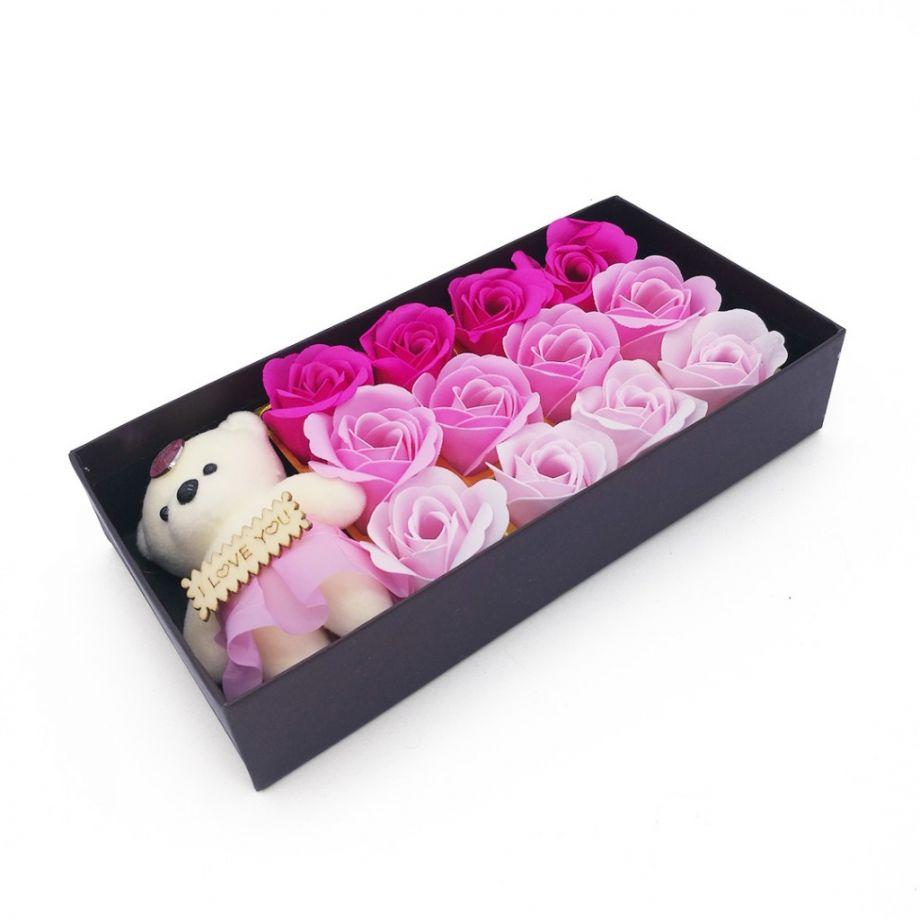Подарочный набор мыльных роз с мишкой в коробке Sweet love, 12 шт, цвет Розовый микс