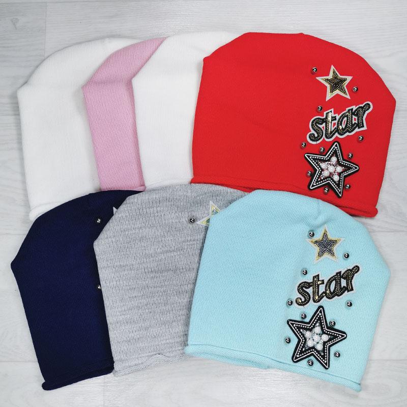 зд1181-36 Шапка вязаная одинарная конвертик Star нежно-розовая