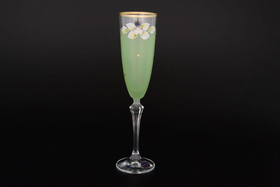Набор матовых зеленых фужеров для шампанского 200 мл, 6 шт.