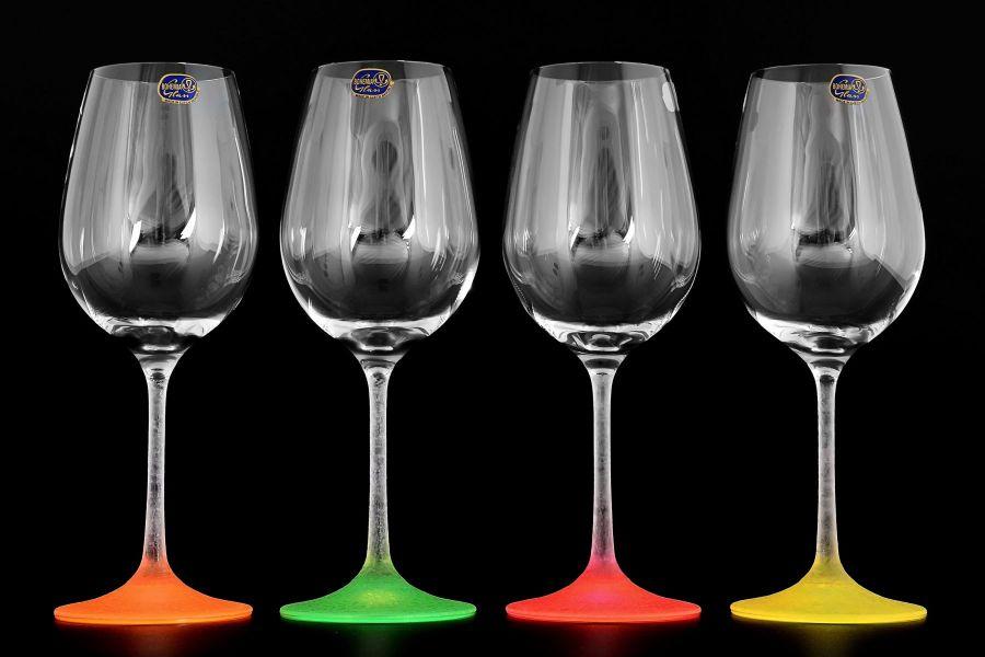 "Набор бокалов для вина 350 мл ""Арлекино Неон"", 4 шт."
