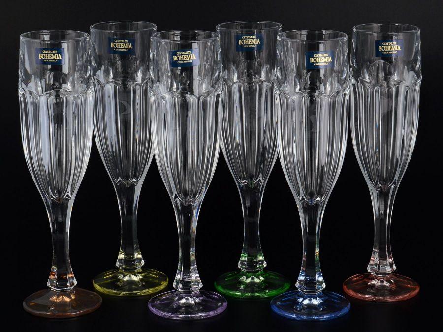 """Набор фужеров для шампанского 150 мл """"Сафари"""" ассорти, 6 шт."""