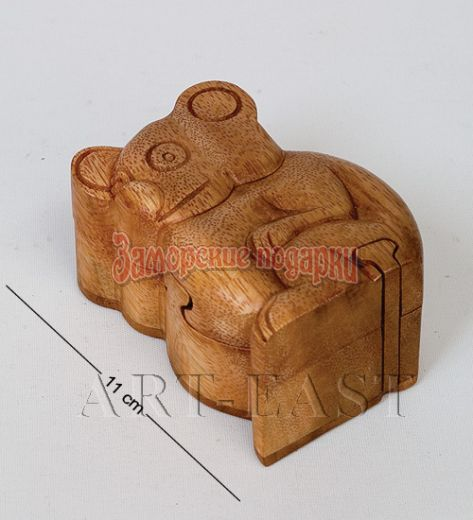 В2-0252 Сувенир-шкатулка с секретом КОАЛА 12х9 см (красное дерево)