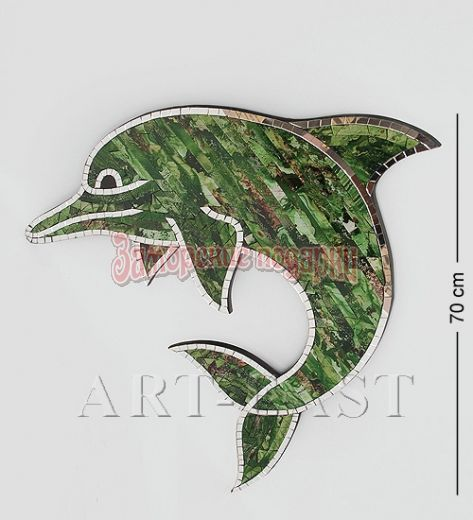 """38-004 Панно """"Дельфин"""" бол. (мозаика, о.Бали)"""
