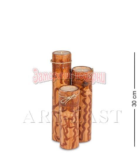 70-006 Подсвечник БАМБУК со свечой 30 см