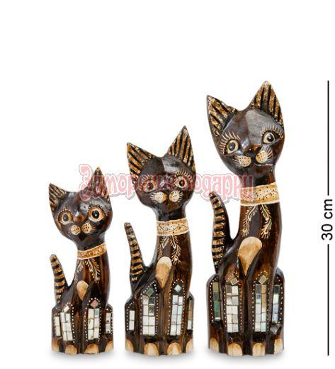 """99-073 Фигурка """"Кошка"""" н-р из трех 30,25,20 см (албезия, о.Бали)"""