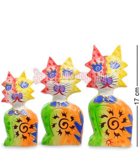 """99-254 Фигурка """"Кошка"""" н-р из трех 17,15,12 см (албезия, о.Бали)"""