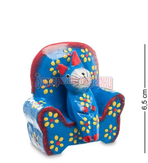 28-011 Статуэтка КОШКА в кресле, цвет-голубой