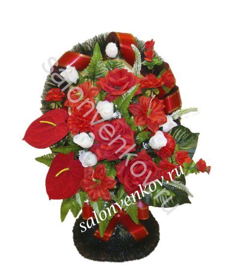 Ритуальная корзина из искусственных цветов N29, РАЗМЕР 60см, 80см,90 см
