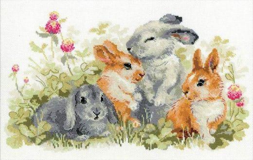 Набор для вышивания крестом Забавные крольчата №1416 фирма Риолис