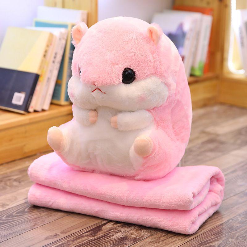Игрушка с пледом Хомяк (цвет розовый)