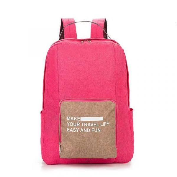 Складной туристический рюкзак New Folding Travel Bag Backpack 20, цвет розовый