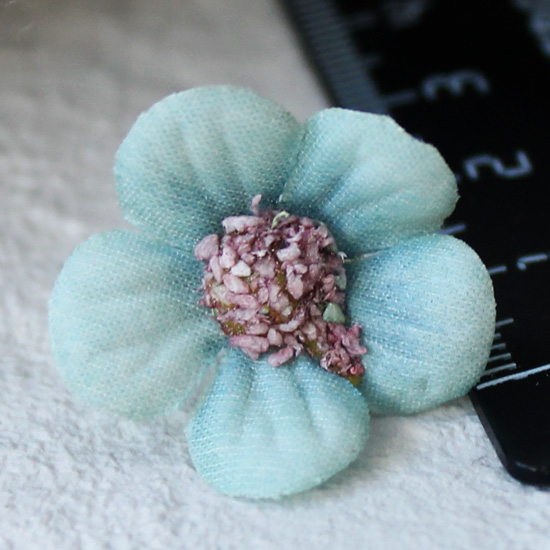 Тканевые цветы голубой Кукольная миниатюра