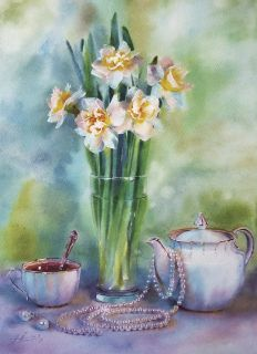 Postcard Bouquet of spring daffodils