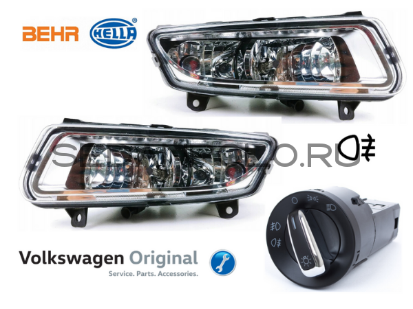 Комплект ПТФ Volkswagen Polo Sedan Оригинал HELLA + переключатель Оригинал VAG