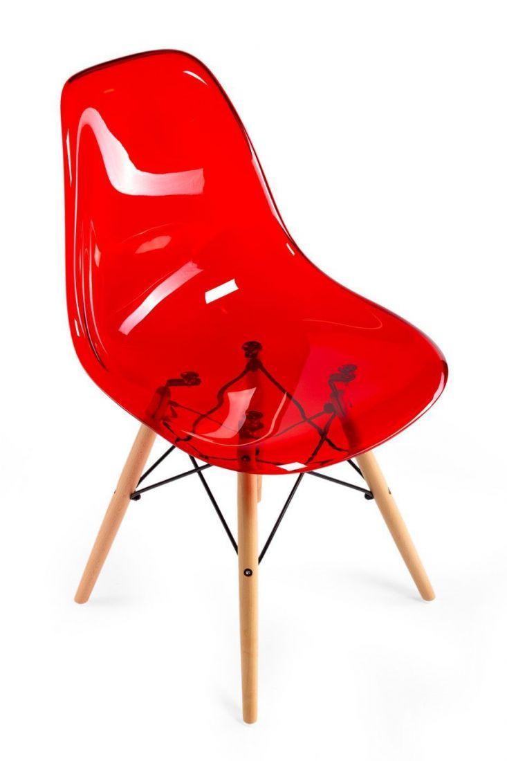 Стул Eames прозрачный красный