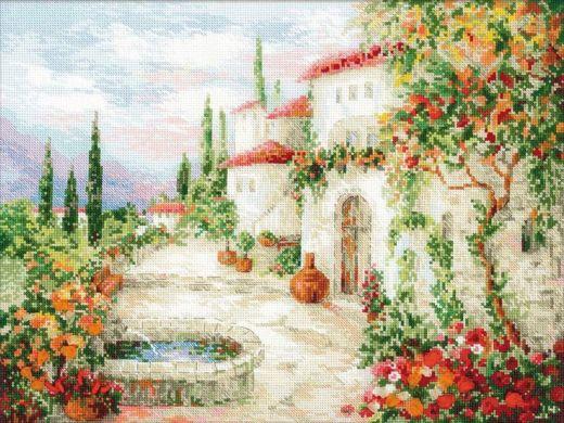 Набор для вышивания крестом У фонтана №1472 фирма Риолис