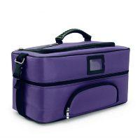 Сумка бьюти-кейс фиолетовая тканевая на молнии для косметики
