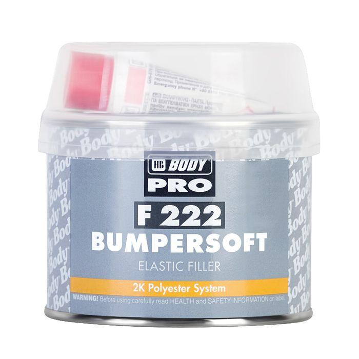 """HB Body Шпатлевка PRO F222 BUMPERSOFT для пластика, название цвета """"Черный"""", объем 250гр."""
