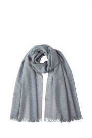 легкий тонкорунный экстра широкий шарф, пепельный цвет, SILVER Merino Tartan 100% шерсть мериноса,   плотность 2