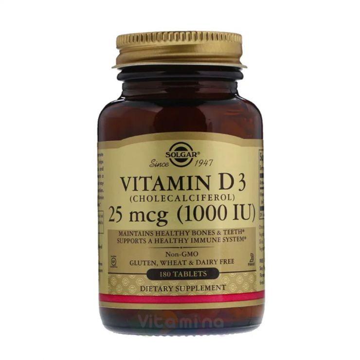 Солгар Витамин Д3 (Vitamin D3) 1000МЕ, 180 табл.