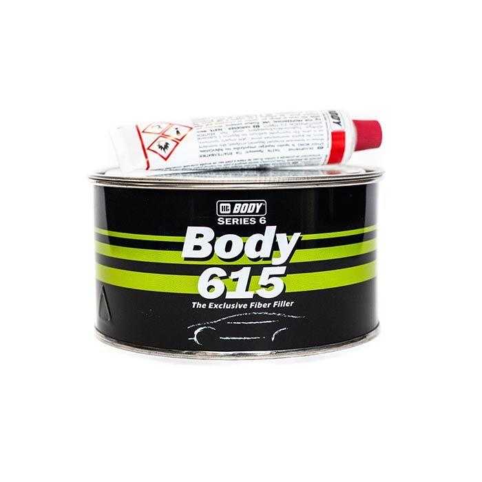 """HB Body Шпатлевка со стекловолокном BODY 615 FIBER, название цвета """"Зеленый"""", объем 1,8кг."""