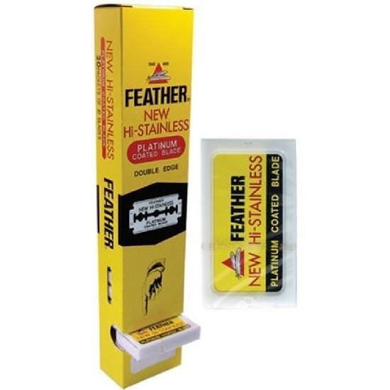Feather Hi-Stainless платиновое покрытие, 200 двусторонних лезвий