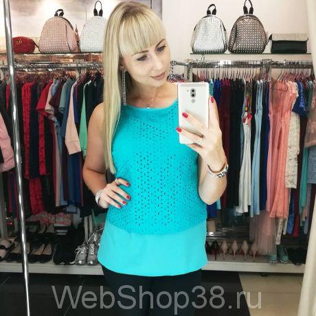 Бирюзовая блузка из креп шифона и шитья