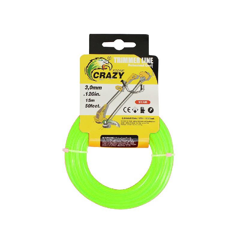 Леска для триммера Crazy Stone диаметр 3 мм (цвет зелёный)