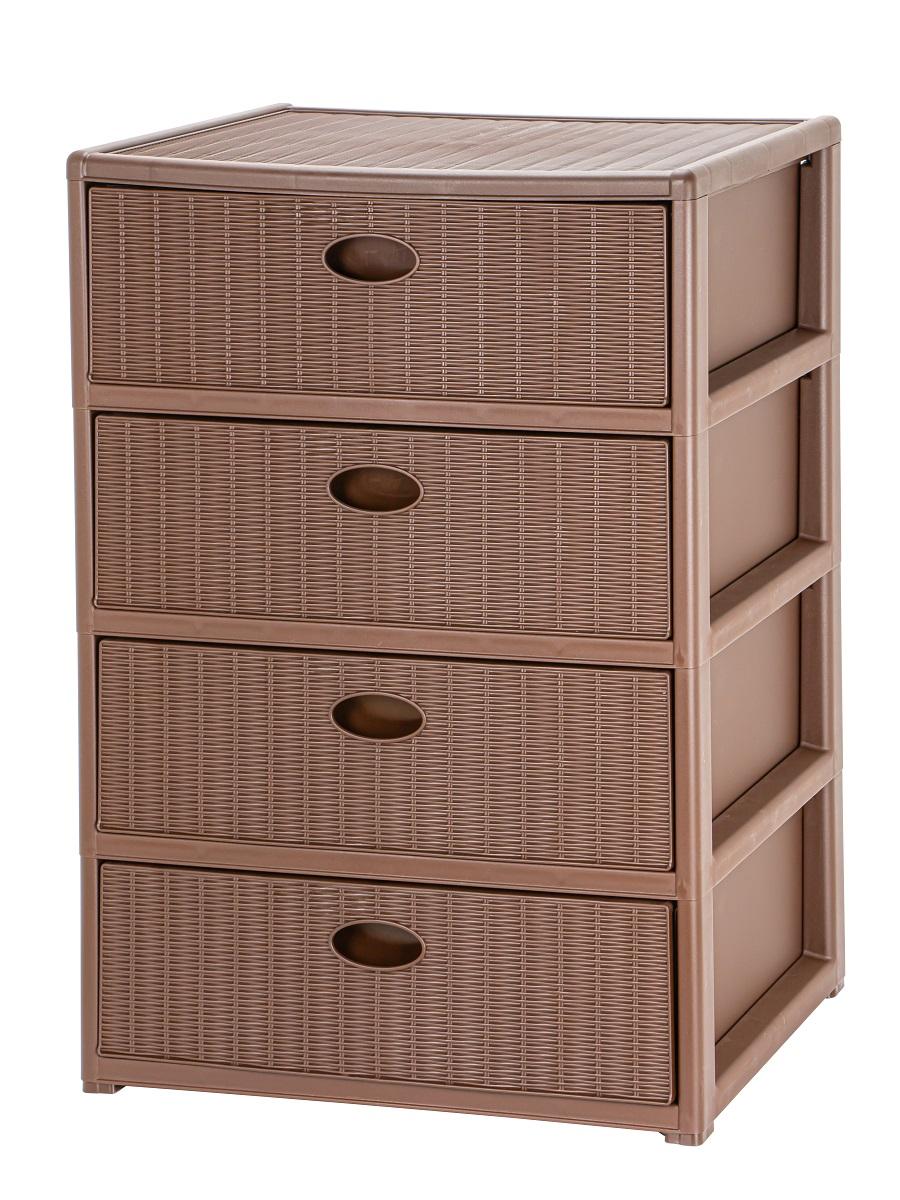 Комод прямоугольный из пластика Elegance 4-х секционный коричневый Эльфпласт 55x41x81 см