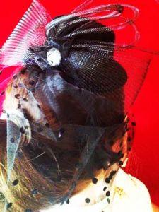 Шляпка ведьмы черная с сеточкой