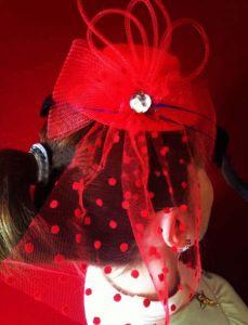 Шляпка ведмы красная с вуалью