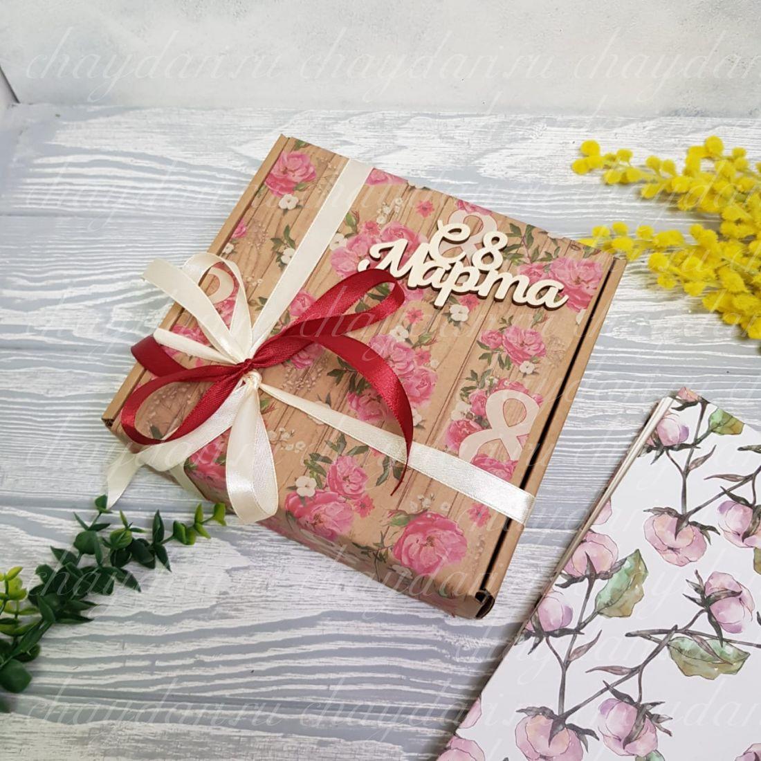"""Коробка с чаем и сладостями """"8 марта"""""""