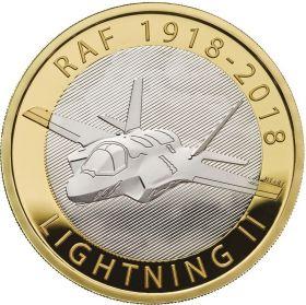 100 лет Королевским ВВС. F-35 «Lighting II». 2 фунта Великобритания 2018 Буклет. BUNC! на заказ