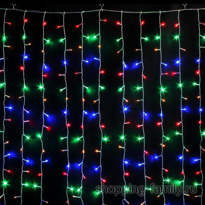 Светодиодная гирлянда Шторка 160 LED лампочек, Разноцветные