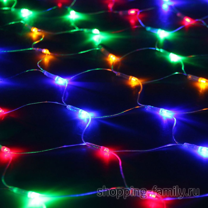 Электрогирлянда «Сетка» 200 LED, Разноцветные