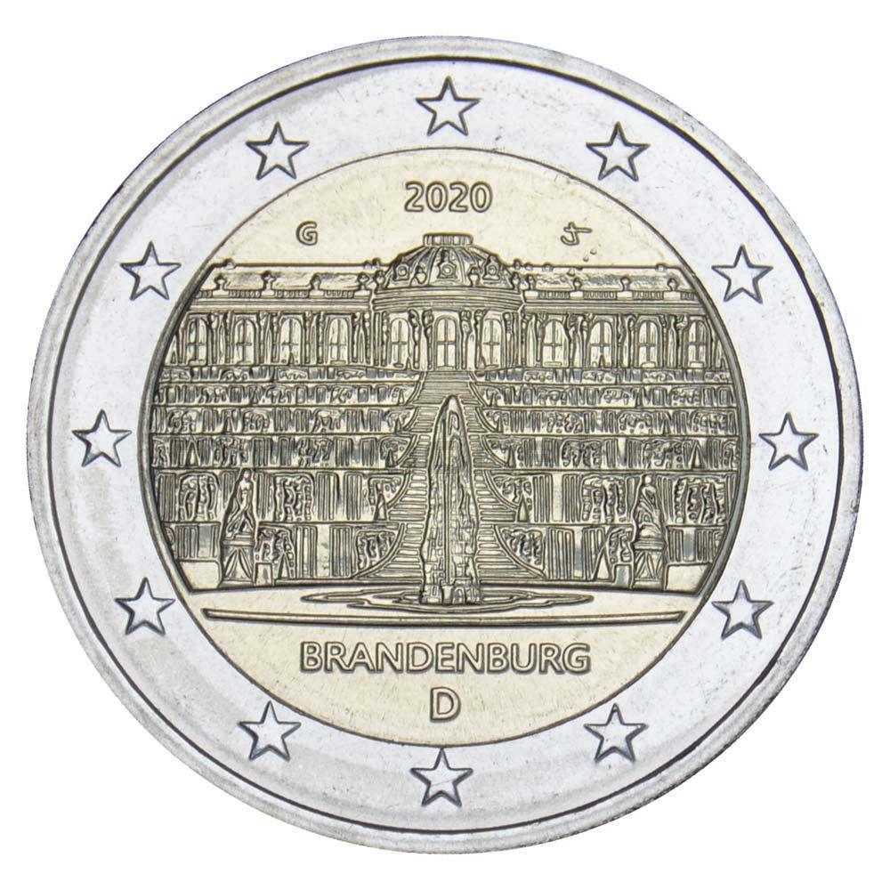 2 евро 2020 Германия Бранденбург (дворец Сан-Суси в Потсдаме) G