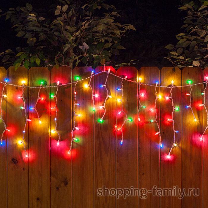 Уличная гирлянда Бахрома, мелкая 100 LED, Цвет Разноцветный