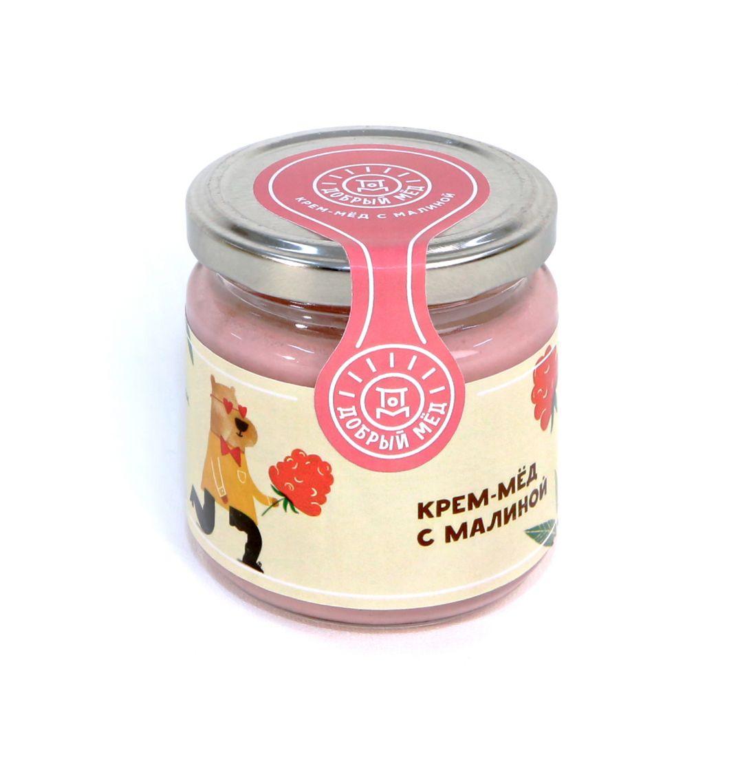 Крем-мед с малиной 220 гр, стеклянная банка