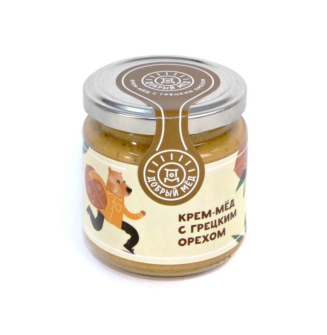 Крем-мед с грецким орехом 220 гр, стеклянная банка
