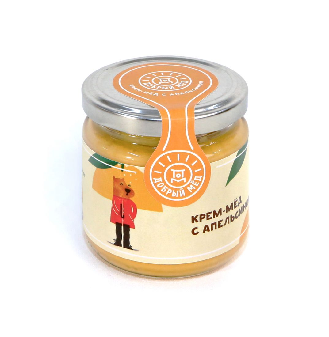 Крем-мед с апельсином 220 гр, стеклянная банка