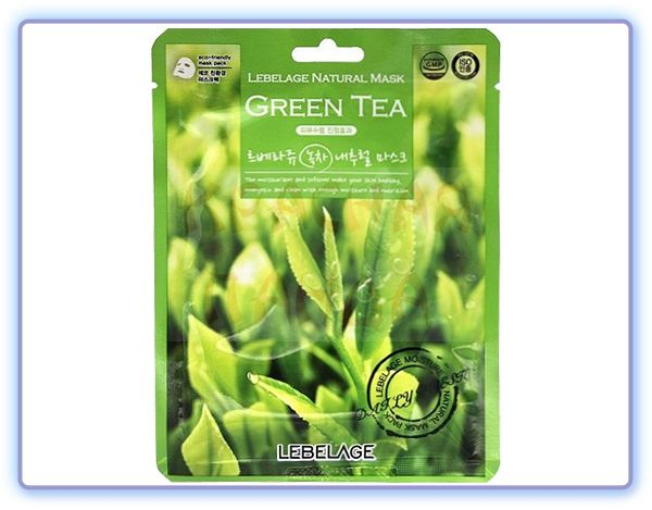 Тканевая маска с экстрактом зеленого чая Lebelage Green Tea Natural Mask