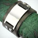 Байкерский кожаный браслет Spikes с планкой (арт. 800257)