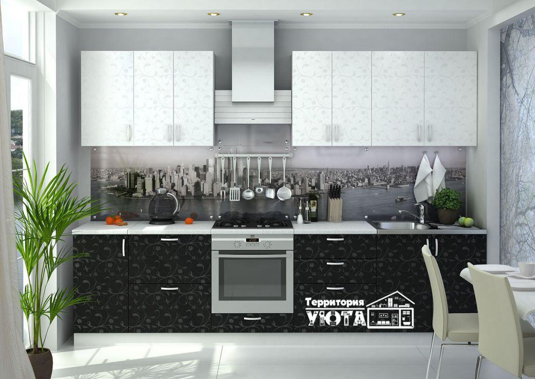 Кухонный гарнитур Дина принт черно/белый 3,0м