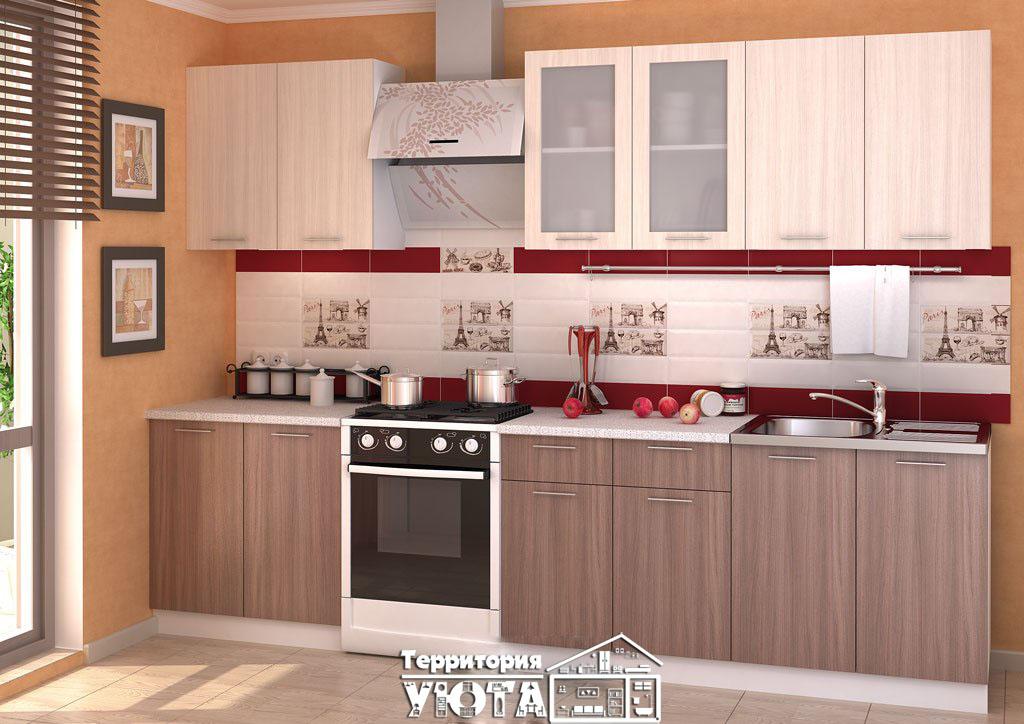 Кухонный гарнитур Дина ясень шимо св/ясень шимо темный 2,4м