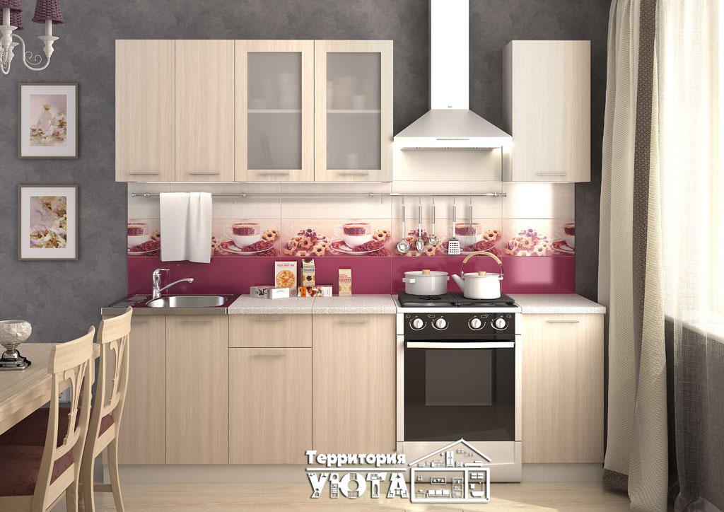 Кухонный гарнитур Дина ясень шимо светлый 1,8м